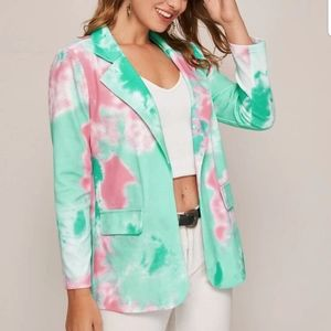 Notched Collar Tie Dye Blazer